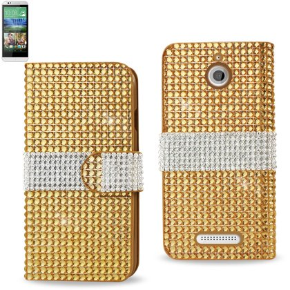 Desire Jewelry (REIKO HTC DESIRE 510 JEWELRY DIAMOND RHINESTONE WALLET CASE IN GOLD)