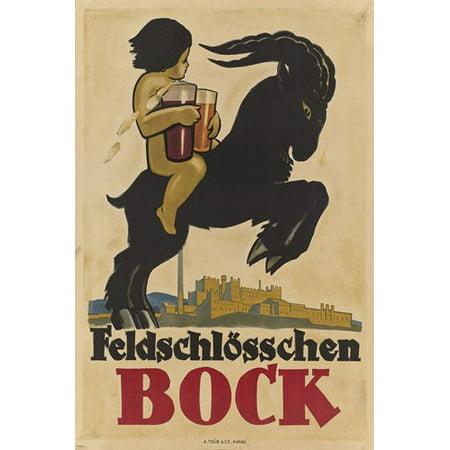 Feldschlösschen Bock Vintage Ad Poster Switzerland 24X36 Beer Collector