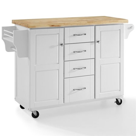 Crosley Furniture Elliott Kitchen Cart In White With Natural Top ()