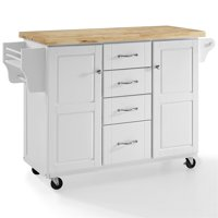 Crosley Furniture Elliott Kitchen Cart In White With Natural Top