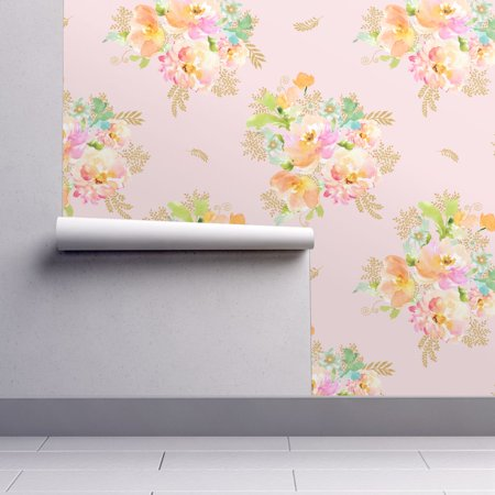Peel And Stick Removable Wallpaper Pink Pink Floral Gold Cottage Chic Pink