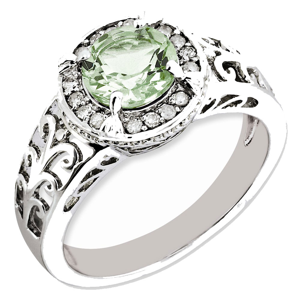 Sterling Silver Diamond & Green Quartz Ring