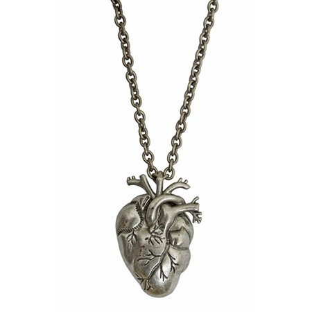 Silver Heart Vampire Necklace Anatomical Zombie Horror Bloody Gothic Halloween