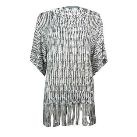 NY Collection Women's Fringe Hem Poncho Sweater