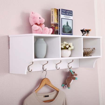 Jaxpety Wall Mount Coat Rack Storage Shelf Cubby Organizer Hooks Entryway Hallway White