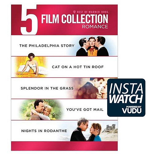 5 Film Collection: Romance - The Philadelphia Story / Cat On A Hot Tin Roof / Splendor In The Grass / You've Got Mail / Nights In Rodanthe (DVD + Digital With UltraViolet)