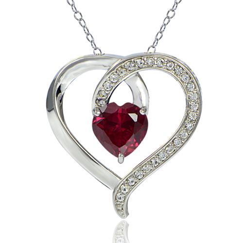 Glitzy Rocks  Sterling Silver Created Ruby and White Sapphire Open Heart Necklace