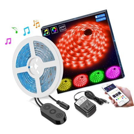 finest selection ba7f7 3567e RGB LED Strip Lights Sync to Music by APP Control, MINGER 16.4Ft/5M LED  Light...