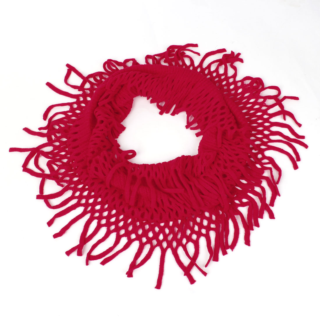 Warm Wear Soft Knitting Tassels Neck Wraps Scarf Red for Ladies