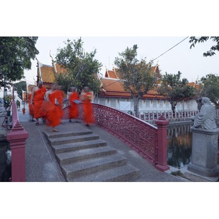 Monks in Saffron Robes, Wat Benchamabophit (The Marble Temple), Bangkok, Thailand, Southeast Asia Print Wall Art By Christian