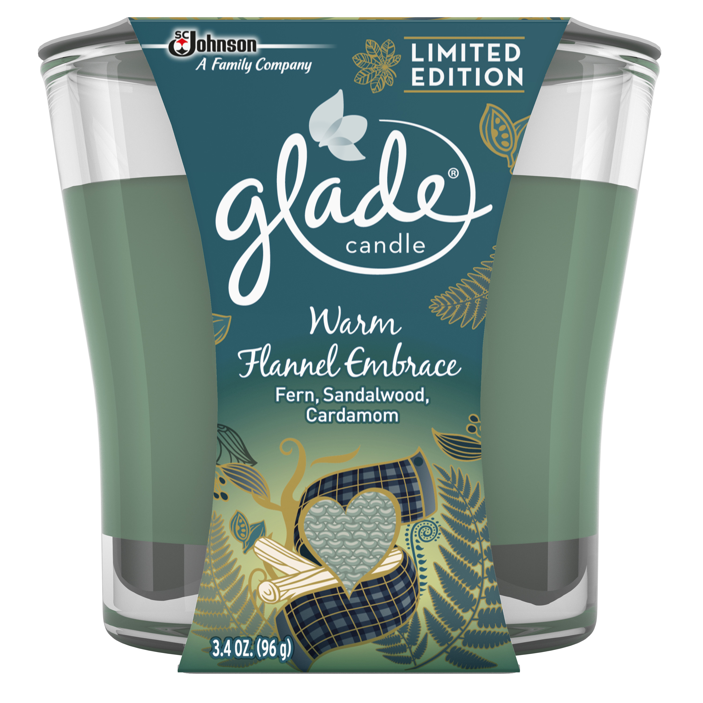 Glade Jar Candle Air Freshener, Warm Flannel Embrace, 3.4 oz