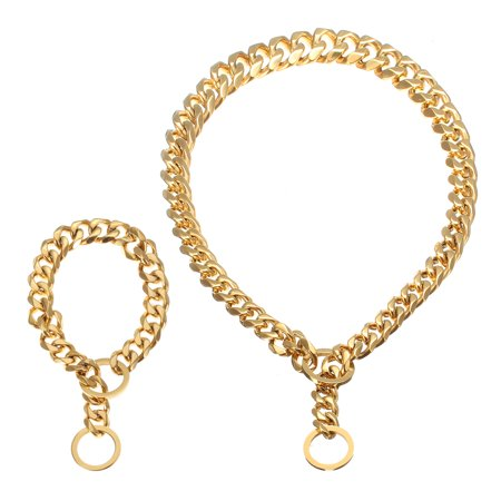 """14""""-26"""" Gold Stainless Steel Dog Chain Dog Collar Pet Chain Necklace Puppy Curb Link for Training Walking"""