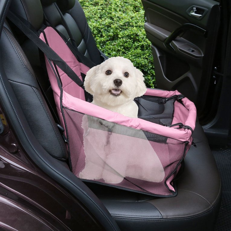 Portable Dog Car Seat Belt Booster Oxford Travel Bags Folding Pet Car Carrier, Pink