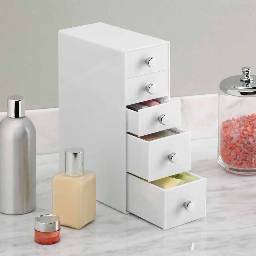 InterDesign Cosmetic Organizer for Vanity Cabinet to Hold Makeup, Beauty Products, 5 Drawers, White