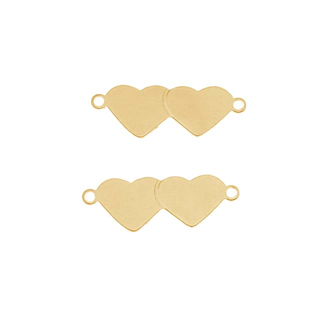 Solid Brass Blank Stamping 'Layered Hearts' 23mm (2)
