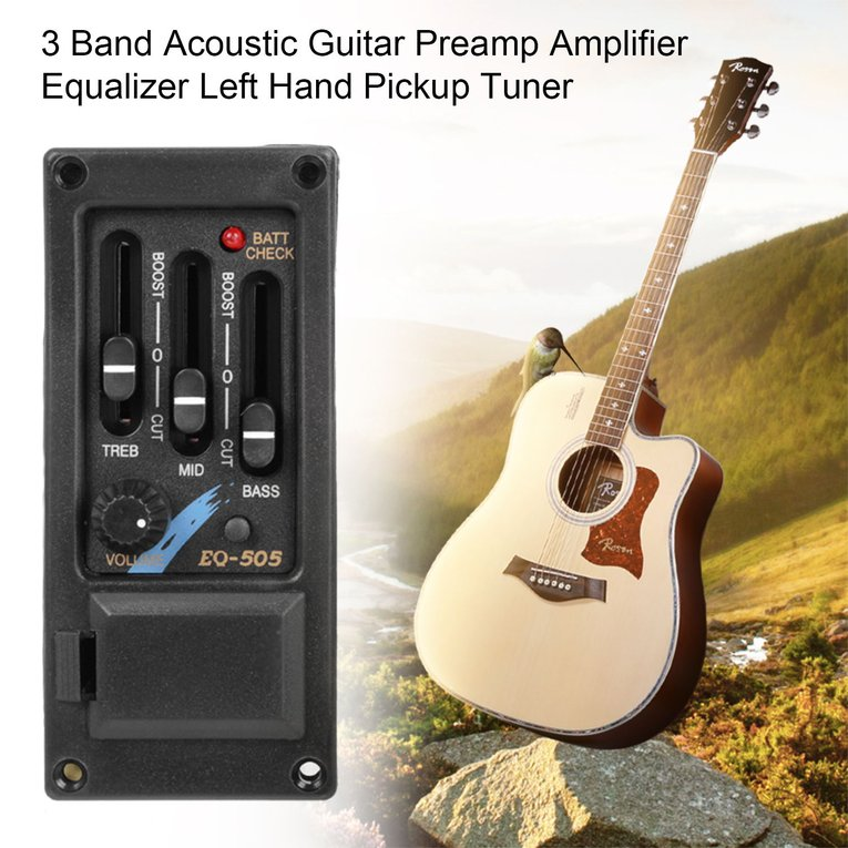 3 Band Acoustic Guitar Preamp Amplifier Equalizer Left Hand Pickup Tuner by