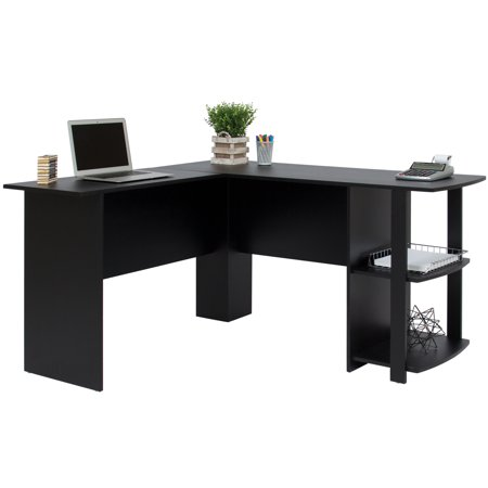 Best choice products l shaped corner computer office desk furniture black - Cheap black desks ...