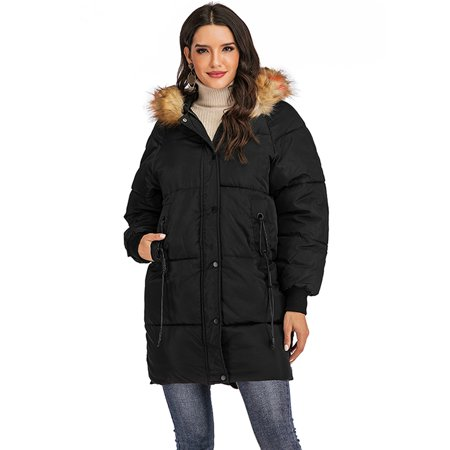 LELINTA Women Winter Plus Size Long Hoodie Coat Warm Hooded Jacket Zip Parka Overcoats Raincoat Active Outdoor Trench Coat ()