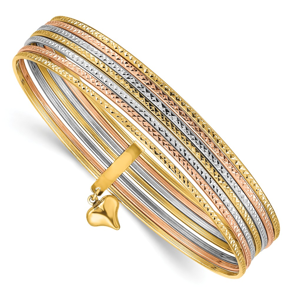 14k 7in Three Tone Gold Slip On 7 Bangles