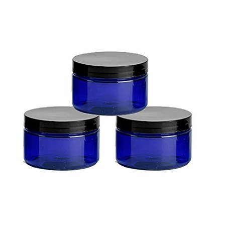 6 Cobalt Blue Low Profile 4 Oz Jars PET Plastic Empty Cosmetic Containers, Black Caps, Sugar Scrub, Powder, Body Cream, Lotion, Beads