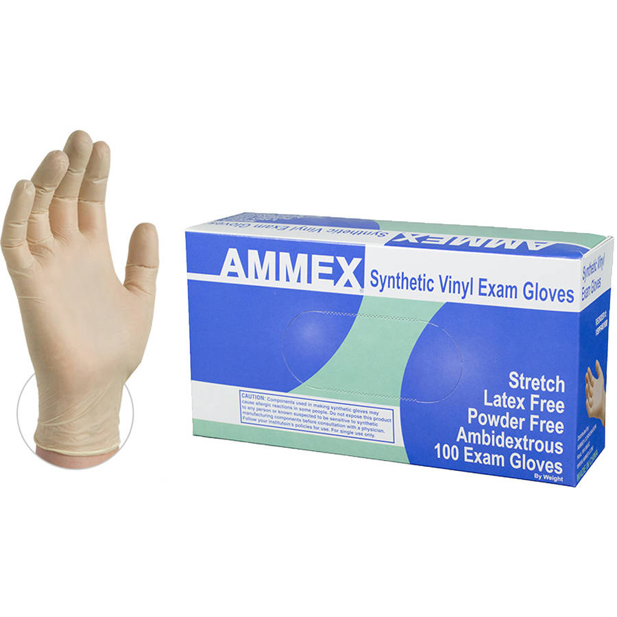 AMMEX Stretch Synthetic Ivory Vinyl Exam Disposable Gloves, Small