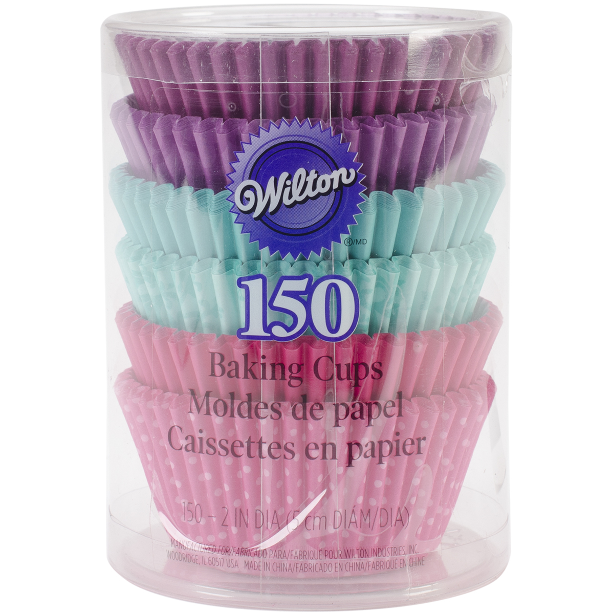 Standard Baking Cups, Pink, Turquoise and Purple, 150-Pack