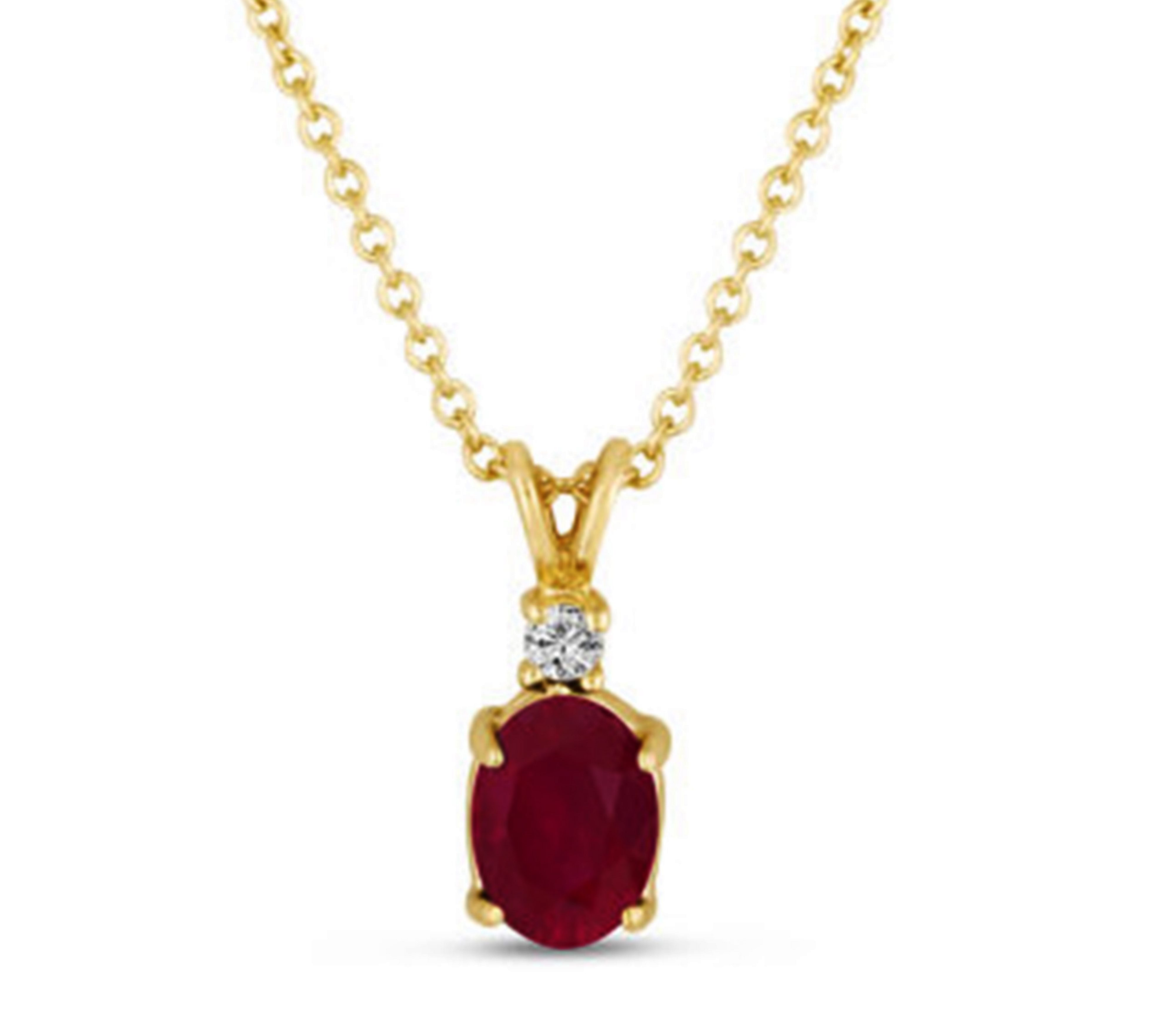 Classic 1 Ctw Oval Shaped Natural Ruby with 0.01 Ctw Solitaire Diamond Necklace n 14K Yellow Gold by Diamond Princess
