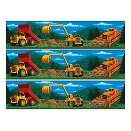 Construction Equipment Trucks cake Edible Icing Image border strips (3 Strips) - Fire Truck Cake