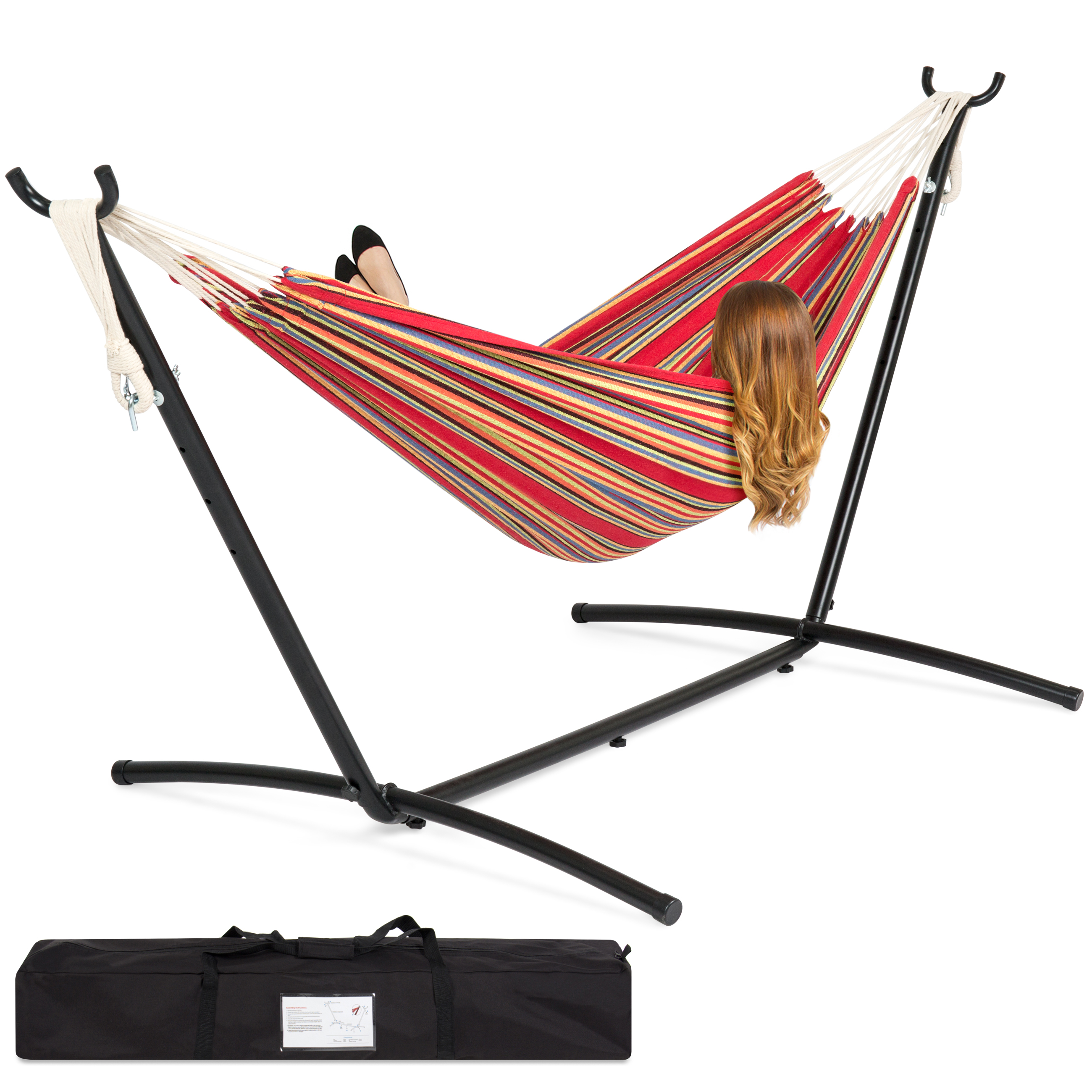 Best Choice Products Double Hammock Set w/ Steel Stand, Carrying Case for Indoor and Outdoor