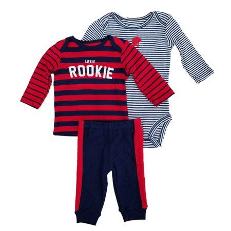Carters Infant Boys 3-Piece Little Rookie Long Sleeve Shirt Bodysuit & Pants Set