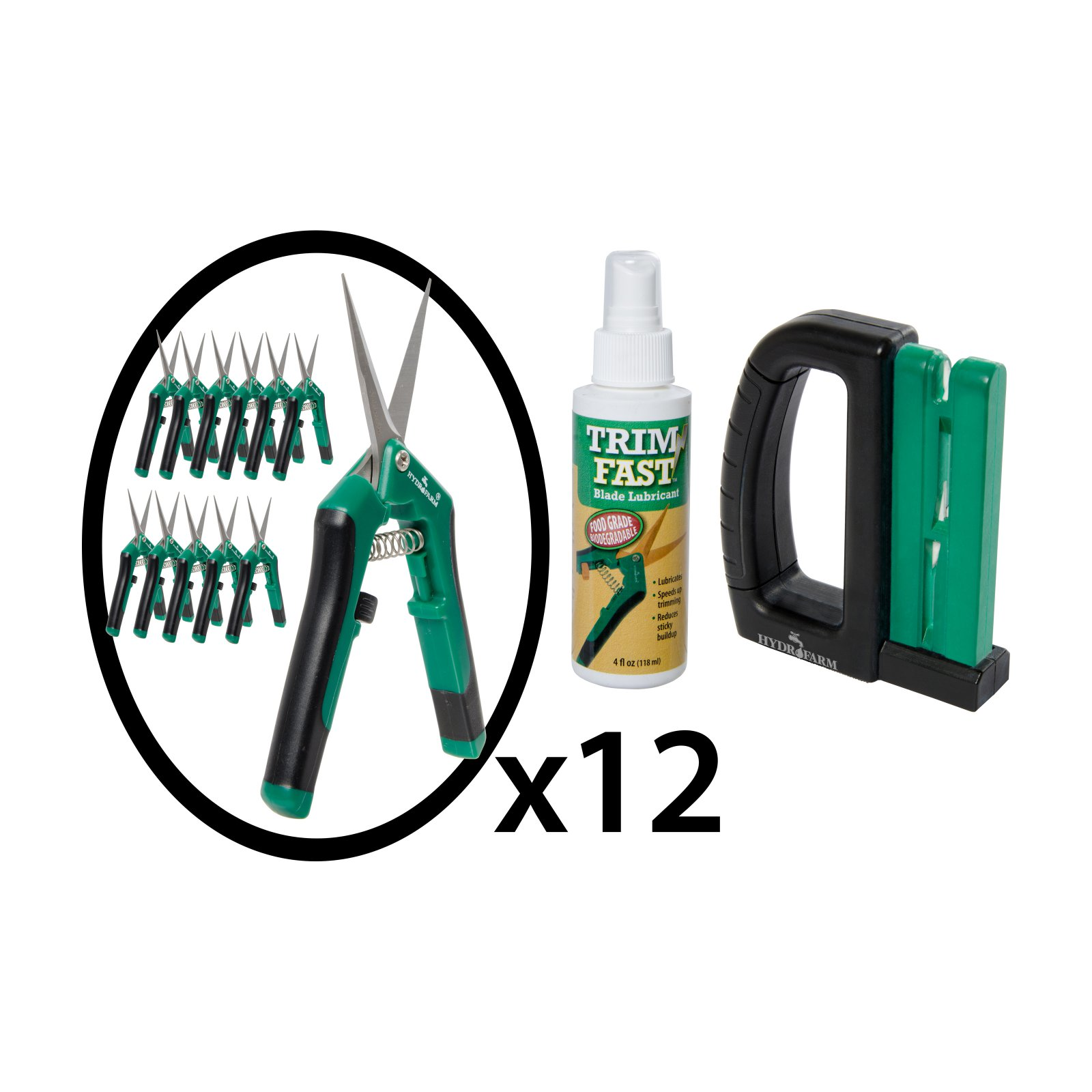 Hydrofarm Professional Trimmer Pack with 12 Curved Blade Pruners