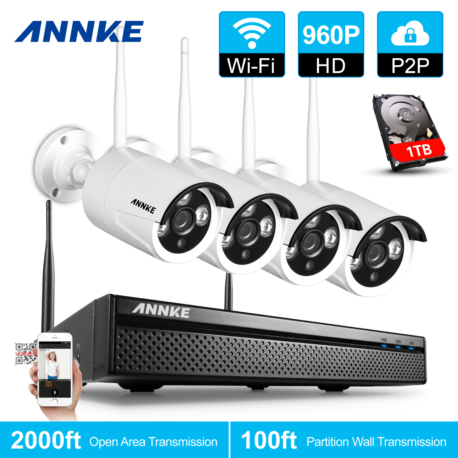 ANNKE 960P HD 4 Cameras 4CH Wireless Security System DVR 1.3MP Bullet Cam Surveillence Kit With 1TB Hard Drive... by AU-441LA1-34VA