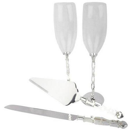 Unik Occasions Toasting Glasses and Cake Serving Set](Wedding Serving Set)