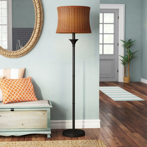 Highland Dunes Evert Basketweave Outdoor 59.5'' Floor Lamp