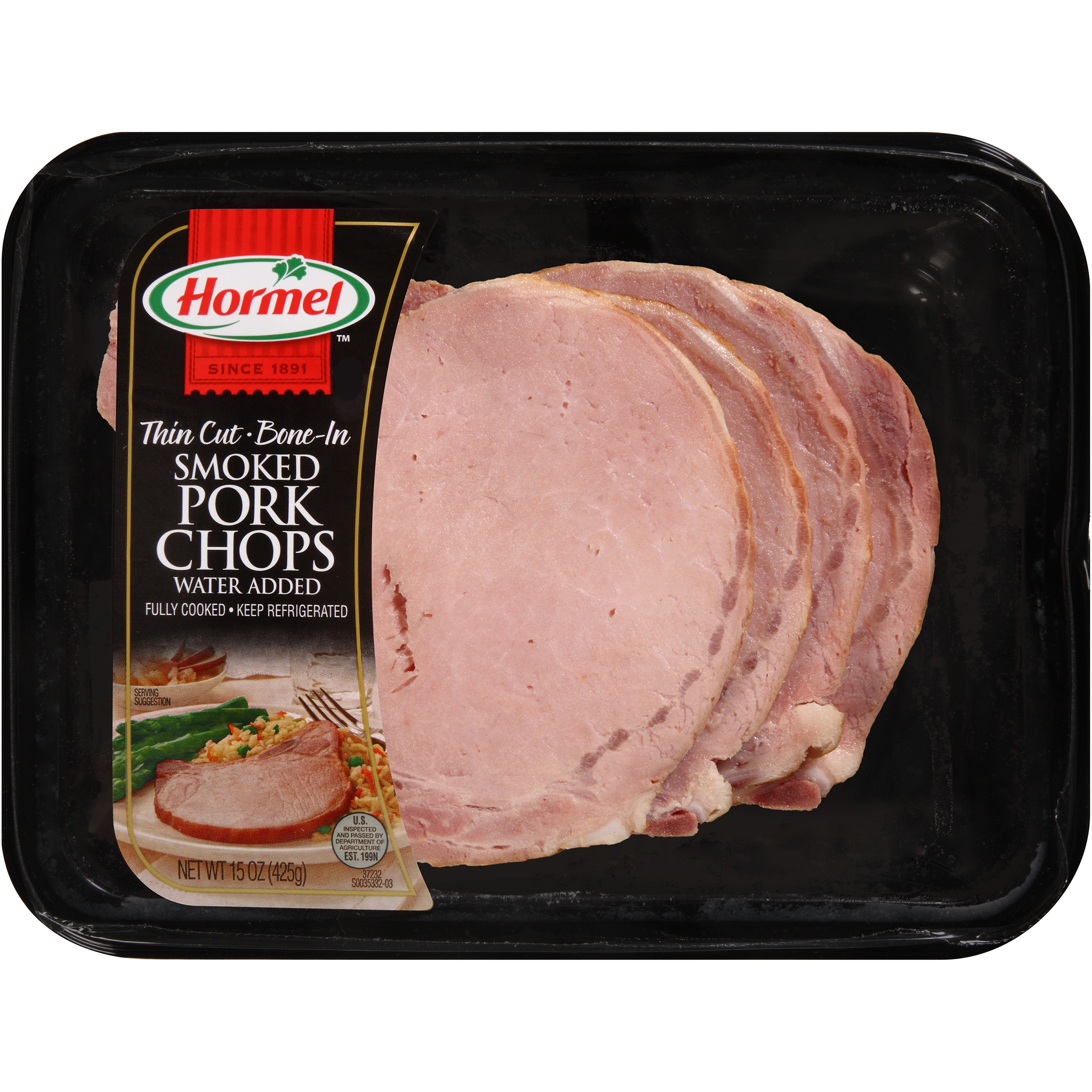 Hormel™ Thin Cut Bone-In Smoked Pork Chops 15 oz. Tray
