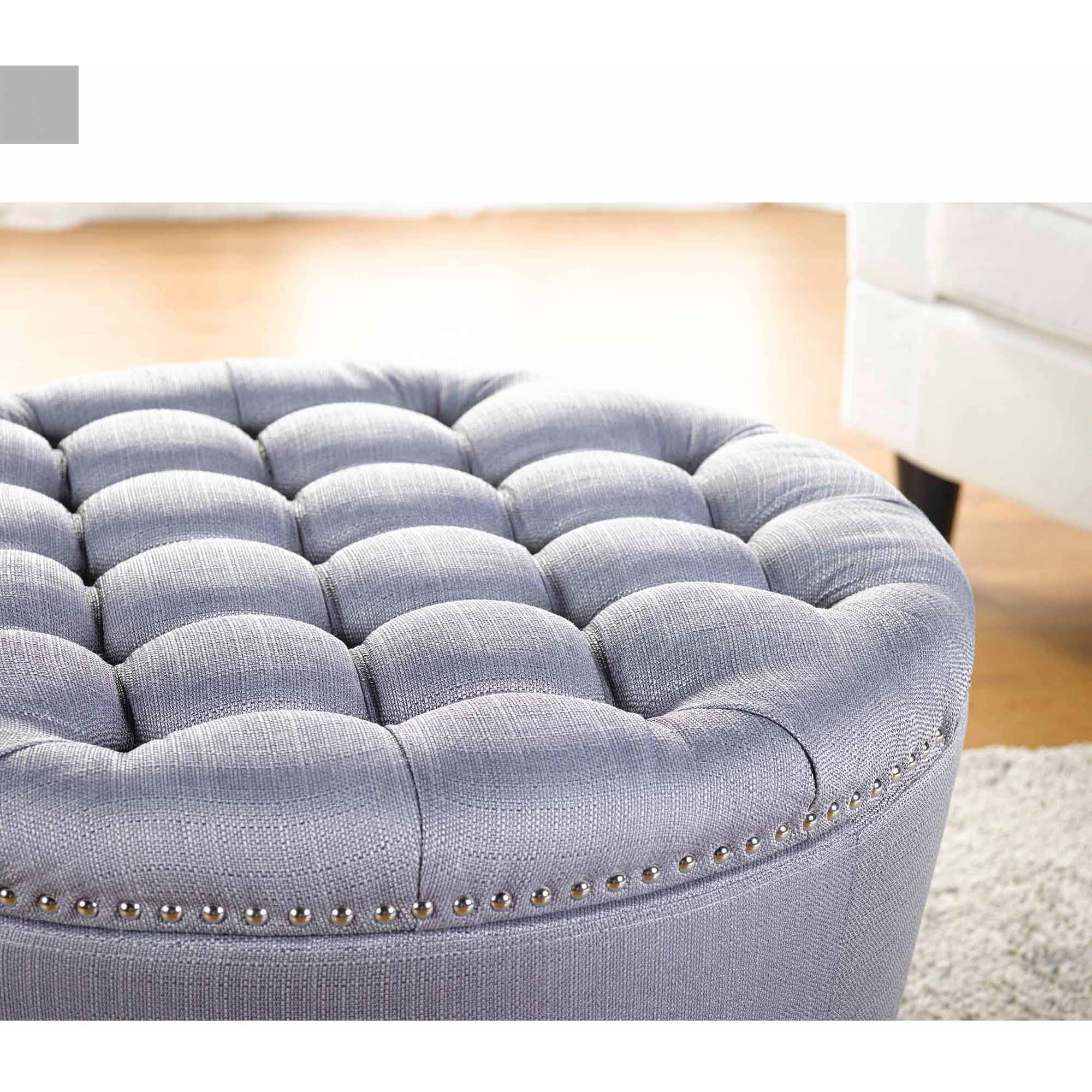 Round Tufted Ottoman Large Upholstered Fabric Gray Storage