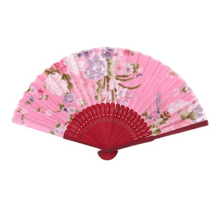 Home Summer Bamboo Frame Flower Pattern Gift Craft Folding Hand Fan Multicolor