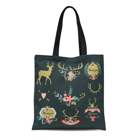 SIDONKU Canvas Tote Bag Deer Antlers Flowers and Floral Clipart Thank You Love Reusable Shoulder Grocery Shopping Bags Handbag
