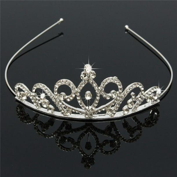 Princess Bridal Rhinestone Crystal Wedding Hair Tiara Crown Prom Headband Silver