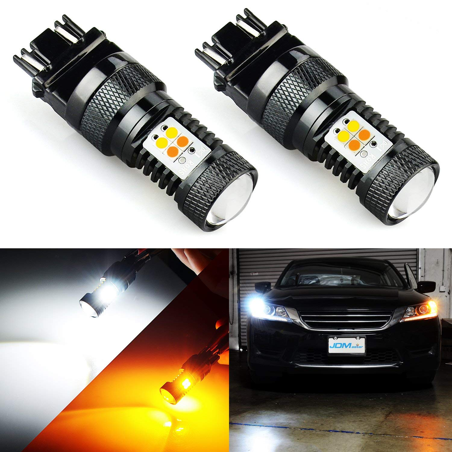 JDM ASTAR Extremely Bright 3030 Chipsets White/Yellow 3157 3155 3457 4157 Switchback LED Bulbs with Projector For Turn Signal Lights