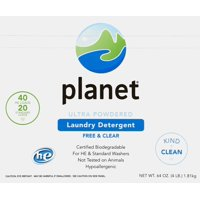 Planet Ultra Powdered Laundry Detergent, Free & Clear, Certified Biodegradable, HE & Regular Washers, 64 oz.