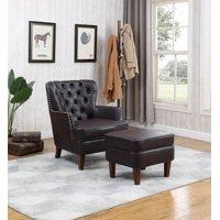 Pu accent chair w/ storage ottoman