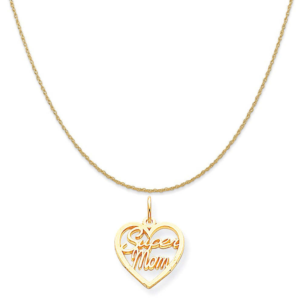"""10k Yellow Gold Super Mom Charm on a 14K Yellow Gold Rope Chain Necklace, 16"""""""