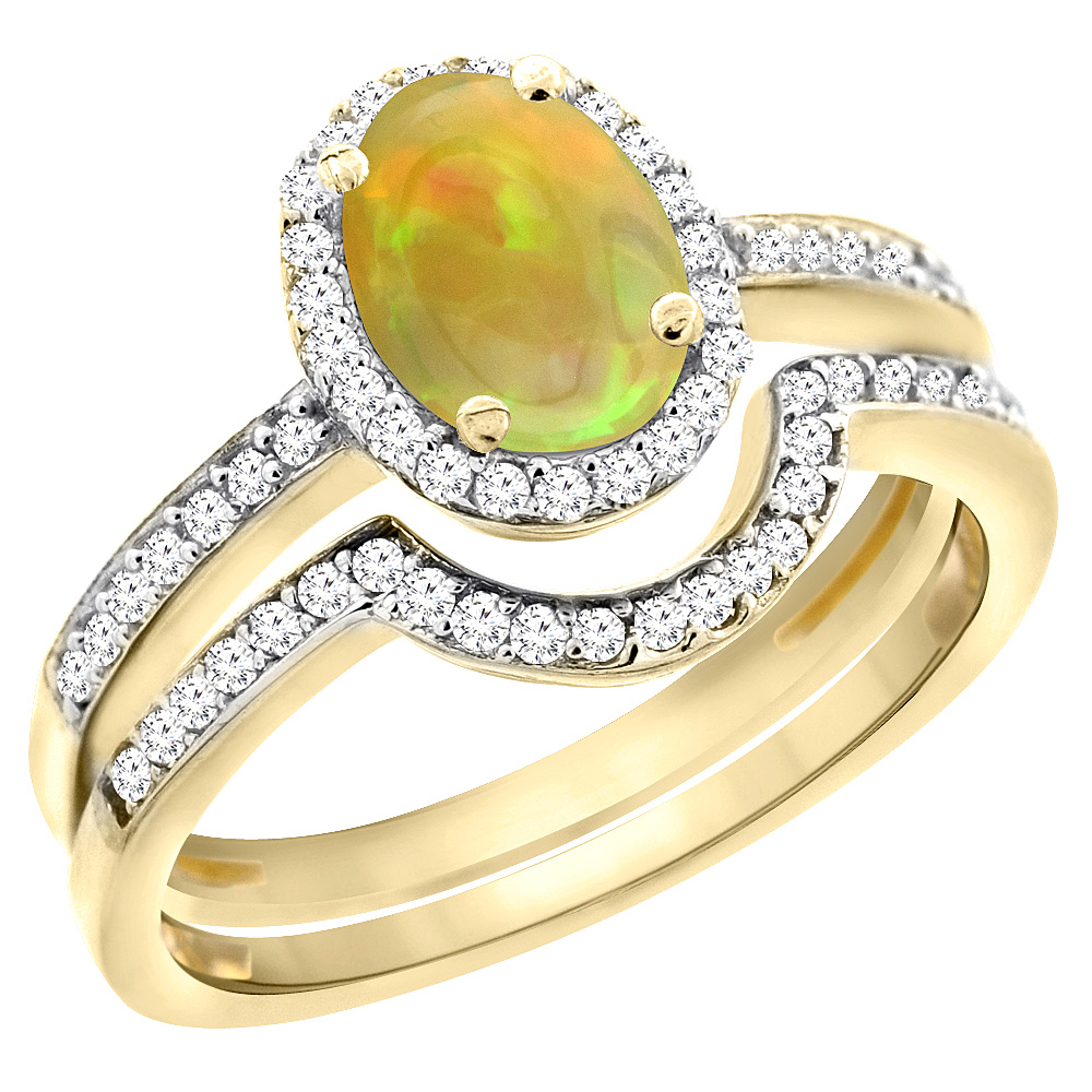 14K Yellow Gold Diamond Natural Ethiopian Opal 2-Pc. Engagement Ring Set Oval 8x6 mm, size 6 by Gabriella Gold