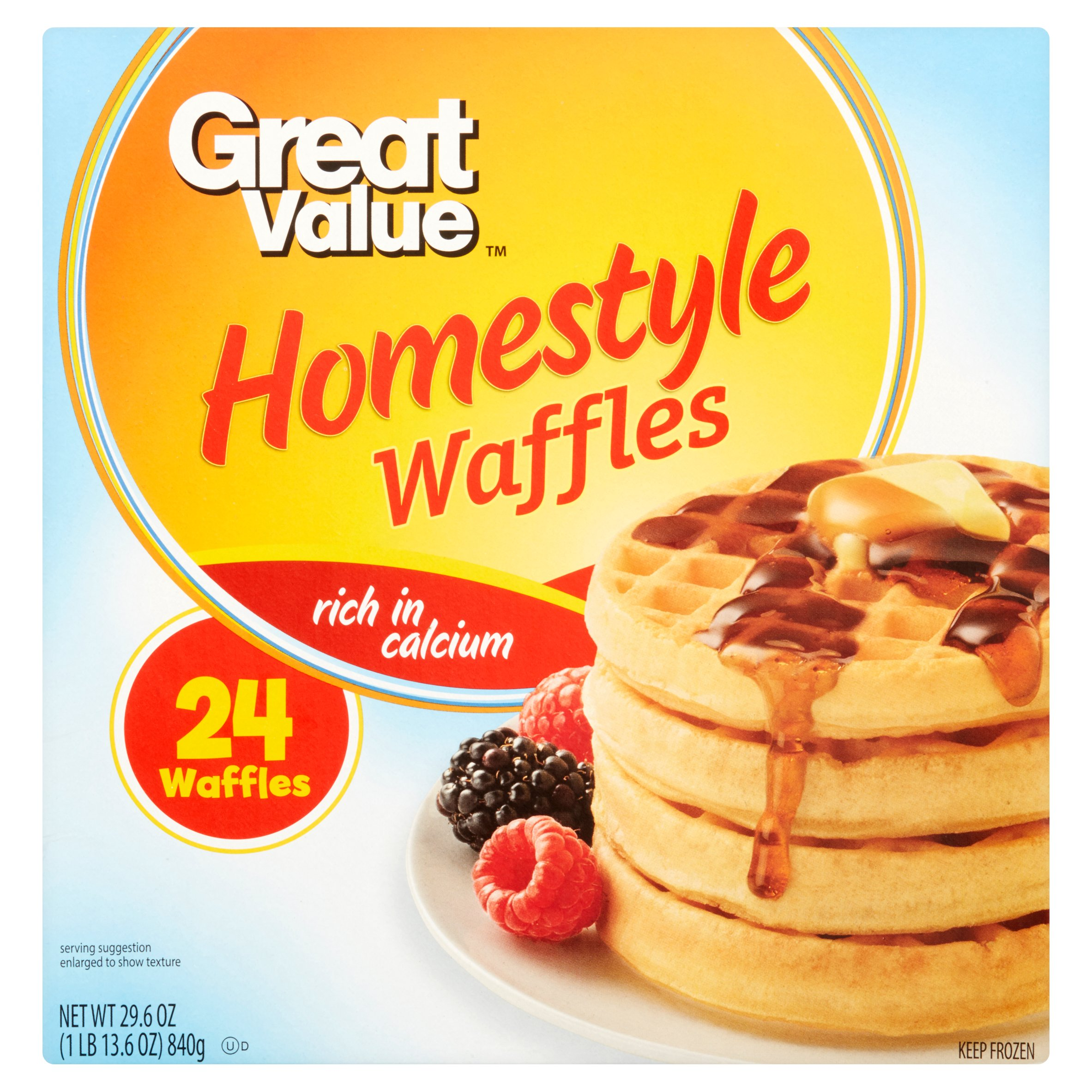 Great Value Homestyle Waffles, 24 count, 29.6 oz