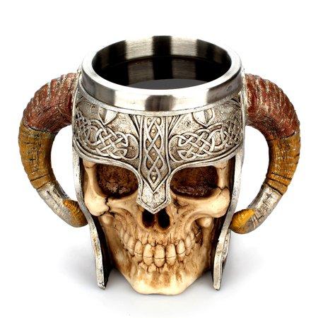 Tuscom Viking Ram Horned Pit Lord Warrior Skull With Battle Helmet Beer Stein Tankard Coffee Cup Mug Norse Mythology Folklore Odin Thor Loki Ragnarok Poetic Edda