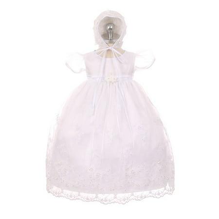 Kids Dream Baby Girls White Organza Pearls Sequins Christening Dress - Christening Dresses