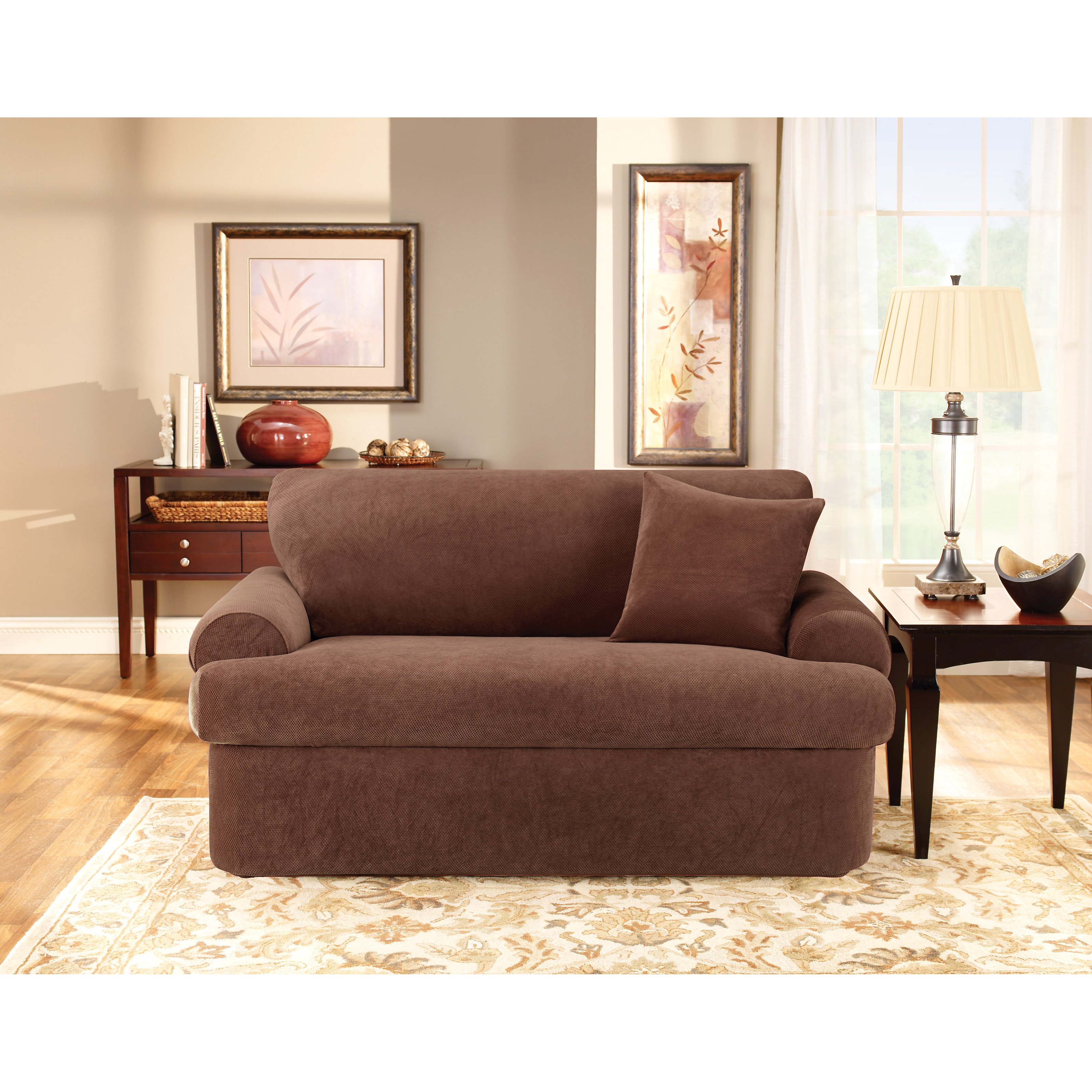 Sure Fit Stretch Pique T Cushion Two Piece Loveseat Slipcover   Walmart.com