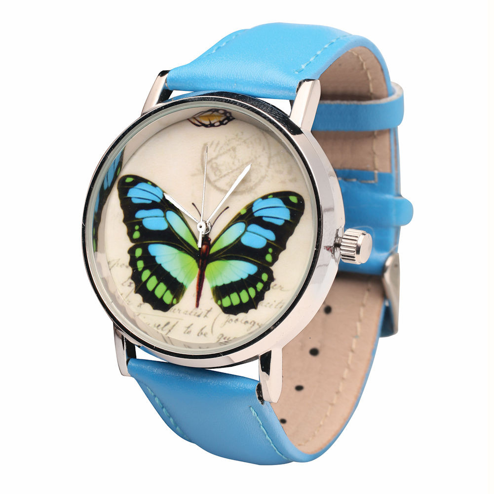 Women's Blue Leather-Band Watch - Butterfly Face