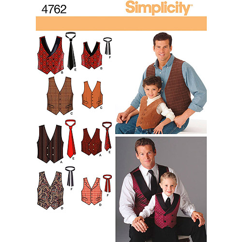 Simplicity Pattern Boy's/Men's Vests and Ties, (M-L, S-XL)